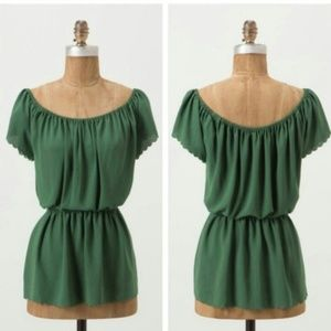 Anthropologie Green Metamorphism Scallop Drape Top